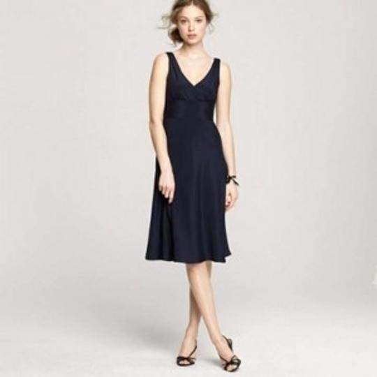 J.Crew Navy Silk Tricone Sophia Feminine Bridesmaid/Mob Dress Size 10 (M)
