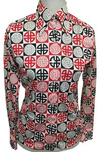 Dior Vintage Geometric Op Art Top Red, White, Black