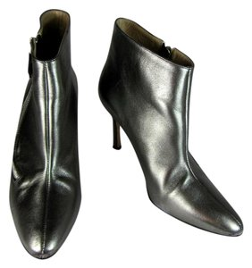 Manolo Blahnik Leather Ankle Short Silver Boots