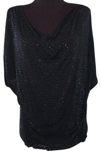 Haute Hippie Sequin Sparkle Cowl Neck Holiday Top Black