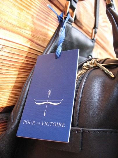 Pour La Victoire Noveau Noir Leather Satchel Shoulder Bag Image 7