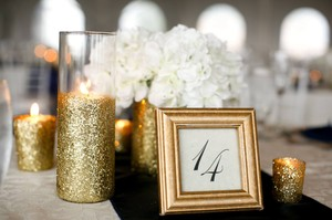 Beautiful White & Gold Hydrangea Centerpieces-wedding Boston Ma