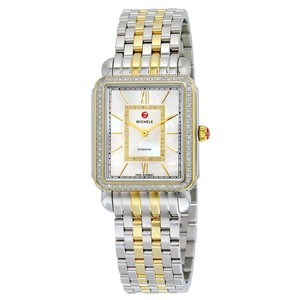 Michele $2300 NWT Deco II 18 Diamond Two-tone, Diamond Dial MWW06X000006