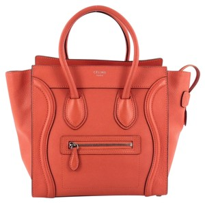 Céline Celine Leather Tote in Red Orange