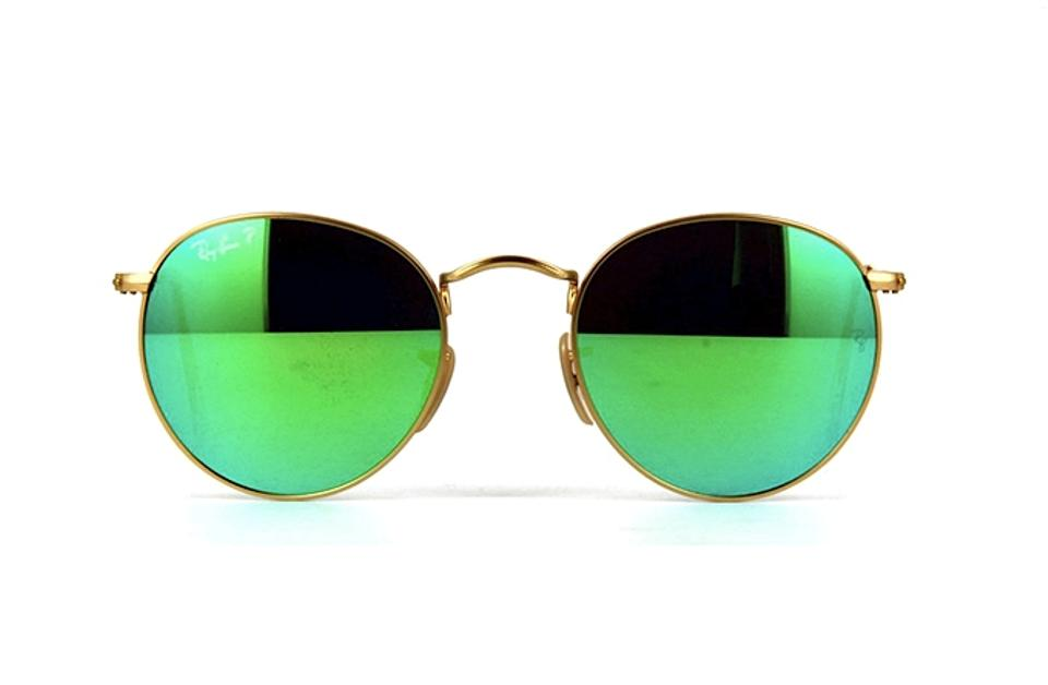ca8aa7b419 Ray-Ban Gold Metal with Green Flash Mirrored Lens Rb 3447 112 P9 - Polarized  Round Sunglasses