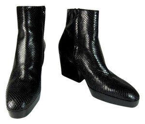 Robert Clergerie Black Python Leather Ankle Short Boots