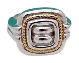 Tiffany & Co. Tiffany & Co Silver 18K Gold Rope Square Ring Band