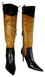 Dolce&Gabbana Black Brown Leather Tall Boots