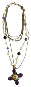 Chanel AUTHENTIC CHANEL 6 STRAND CHAIN PEARL & PURPLE BEADED CHARM NECKLACE