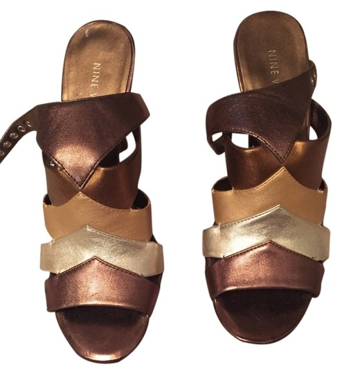 Nine West Brown And Gold Sandals