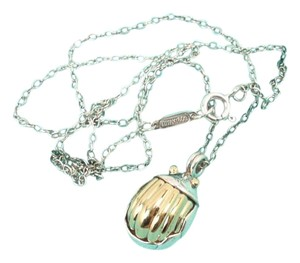 Tiffany & Co. Tiffany & Co Sterling Silver 18K Gold Scarab Pendant Necklace