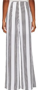 Lucca Couture Wide Leg Pants Black and white stripped
