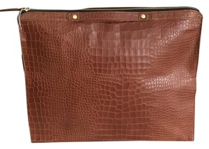 Twelfth St. by Cynthia Vincent Crocodile Leather Oversized Cognac Clutch