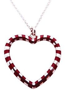 Tiffany & Co. Tiffany Red/Purple Enamel Heart Necklace Sterling Silver