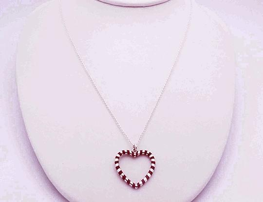 Tiffany & Co. Tiffany Red/Purple Enamel Heart Necklace Sterling Silver Image 1