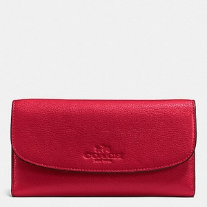 Coach F52715 New COACH PEBBLE LEATHER CHECKBOOK WALLET TRUE RED