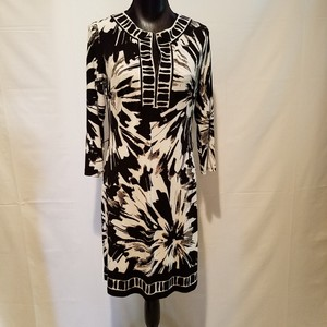 Nine West Floral Sheath Belted Graphic Dress