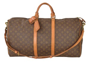 Louis Vuitton Lv Keepall 55 Bandouliere 55 Brown Travel Bag