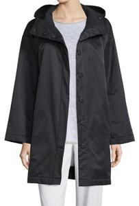 Eileen Fisher Fleece Lined Hooded Snap Front Raincoat