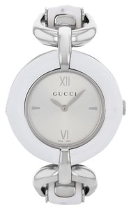 Gucci Gucci 132 YA132406 Steel & White Bamboo Quartz Ladies Watch (12851)