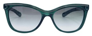 Chanel Cat Eye Silver Chain Green Chanel Sunglasses 6041 c.1418/S3 56