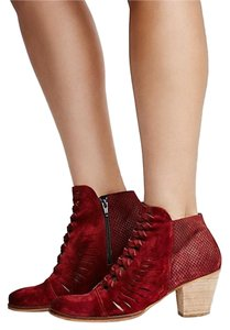 Free People Suede Eclectic Festival Red Boots