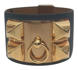 Hermès Hermes Collier De Chien Blue Colvert Bracelet with Rose Gold Hardware