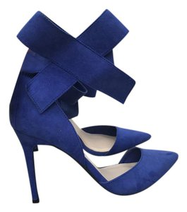 Wild Diva Heels Bow Ankle Strap Blue Pumps