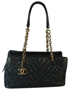 Chanel Satchel in Black shimmer with navy hue