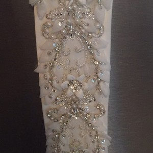 Ivory And Silver Crystal And Stitched Wedding Sash/belt