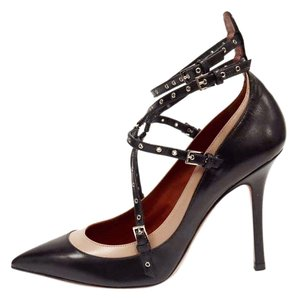 Valentino Lovel Latch Leather Ankle Strap Black & Beige Black Beige Pumps