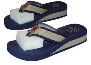 Tory Burch Tan and Navy Sandals