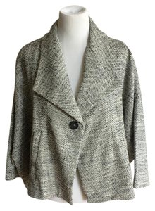 Eileen Fisher Cropped Swing Tweed Black and White Jacket