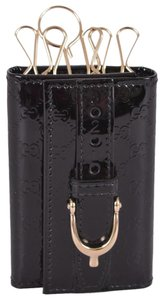 Gucci Gucci 309759 Black Imprime Horsebit GG Guccissima 6 Ring Key Case