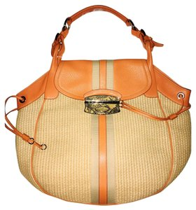 Prada Raffia Beach Tote in Orange/natural