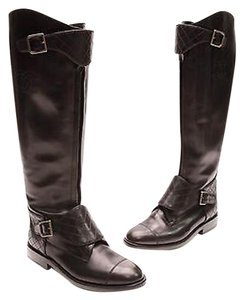 Chanel Leather Polo Black Boots