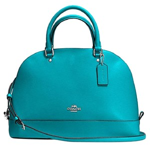 Coach Cora Domed Border Studed 37238 Satchel in SILVER/TURQUOISE