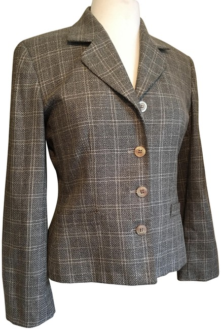 Austin Reed Black Tan Classic Cropped 4 Button Front Pockets Wool Silk Blazer Size 2 Xs Tradesy