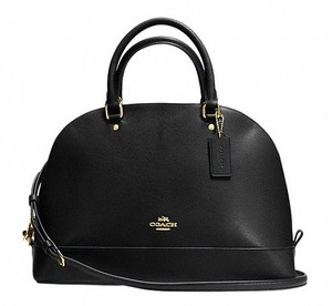 Coach Cora Domed Border Studed 37238 Satchel in black/ gold tone