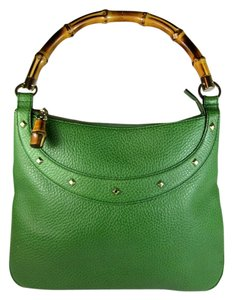 Gucci Leather Tote Green Bamboo Shoulder Bag