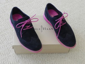 Cole Haan Suede Black with Hot Pink Sole Flats