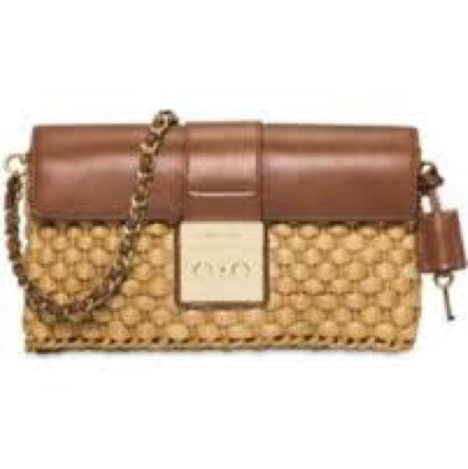 3d8fe2632281 MICHAEL Michael Kors Gabriella Brown Leather and Straw Clutch - Tradesy
