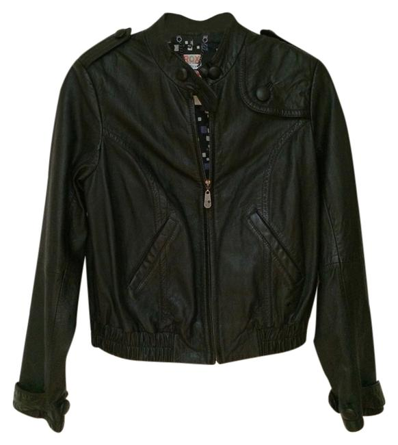Roxy Moto Motorcycle black Leather Jacket
