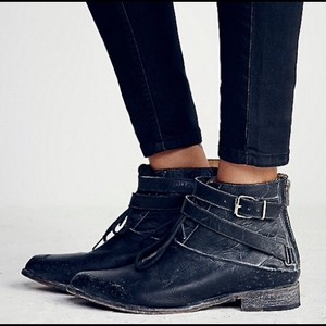 Free People Distressed Leather Ankle Black Boots