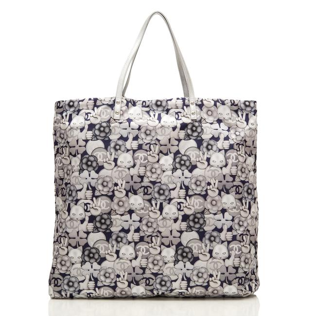 Item - Shopping and Silver Cc Peace Cat Graphic Printed Large Grey Canvas Tote