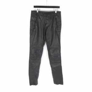 Jil Sander Lamb Leather Moto Straight Pants Black