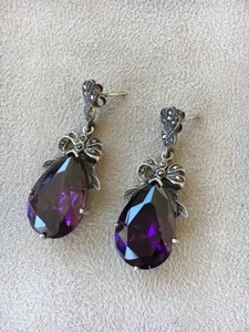 Amethyst sterling drop earrings.