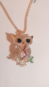 Betsey Johnson New Betsey Johnson Owl Necklace Pink Gold J3041