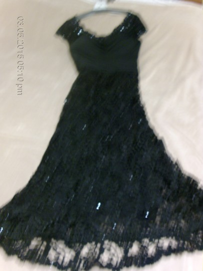 Mori Lee Black with Black Lace & Sequin Trim Gown Over Tulle Mother-of-the-bride Formal Bridesmaid/Mob Dress Size 12 (L) Image 3