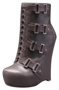 Alejandro Ingelmo Ultra High Silver Leather Wedge Grey Boots